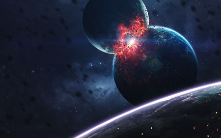 Planets explosion, science fiction image, dark deep space with giant planets, hot stars, starfields. Incredibly beautiful cosmic landscape . Elements of this image furnished by NASA 版權商用圖片