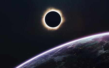 日食。深宇宙の画像は、高解像度の壁紙に最適な印刷で空想科学小説ファンタジー。NASA から提供されたこのイメージの要素