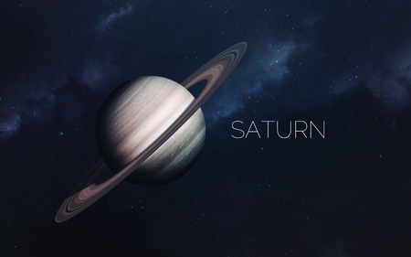 Saturn. Science fiction space wallpaper, incredibly beautiful planets, galaxies, dark and cold beauty of endless universe. Elements of this image furnished by NASA 版權商用圖片