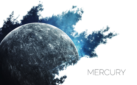 Mercury. Space style water splash on white background.  Creative layout made of nebula with planet of solar system. Elements of this image furnished by NASA Stock Photo