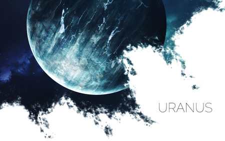 Uranus. Space style water splash on white background.  Creative layout made of nebula with planet of solar system. Elements of this image furnished by NASA Фото со стока