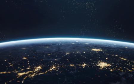 夜、街の明かり軌道から地球。NASA から提供されたこのイメージの要素