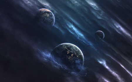 Unexplored planets of faraway space. Deep space image, science fiction fantasy in high resolution ideal for wallpaper and print. Elements of this image furnished by NASA Stock Photo