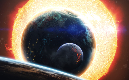 Burning plasma of glowing star, planets orbiting sun, flame at surface. Deep space image, science fiction fantasy in high resolution ideal for wallpaper and print. Elements of this image furnished by NASA Stock Photo
