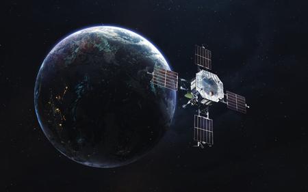 Baan van de aarde met satelliet. Netwerkverbinding. Communicatie van de toekomst. Elementen van deze afbeelding geleverd door NASA Stockfoto