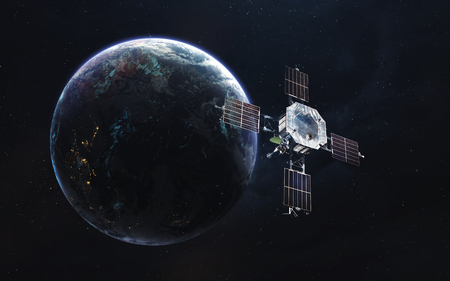 Earth orbit with satellite. Network connection. Communication of future. Elements of this image furnished by NASA