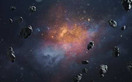Abstract cosmic background with asteroids and glowing stars. Deep space image, science fiction fantasy in high resolution ideal for wallpaper and print. Elements of this image furnished by NASA Imagens