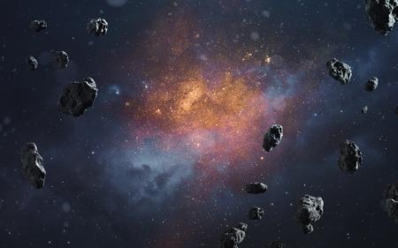 Fondo cósmico abstracto con asteroides y estrellas brillantes. Imagen de espacio profundo, fantasía de ciencia ficción en alta resolución ideal para fondo de pantalla e impresión. Elementos de esta imagen proporcionada por la NASA Foto de archivo