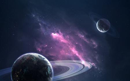 Planeten en wolken van sterrenstof. Diep ruimtebeeld, sciencefiction-fantasie in hoge resolutie, ideaal voor behang en print.