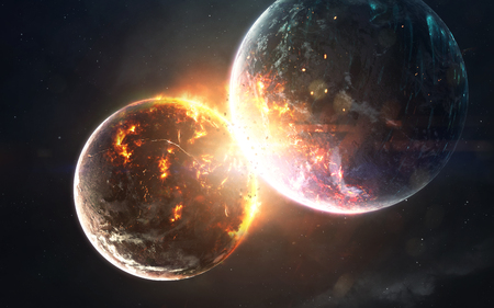 Planet cataclysm. Science fiction space visualisation. Cosmic explosion.
