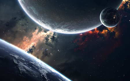 Science fiction space visualisation. Planetary system thousands light years far away from Earth.