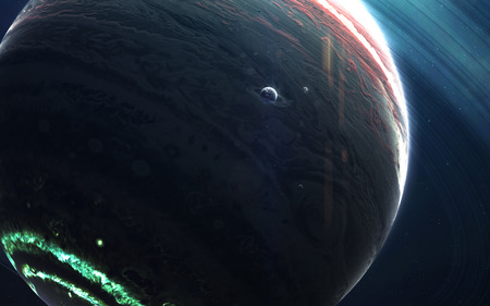 Colossus gas giant with small planets-satellites orbiting it. Stock Photo