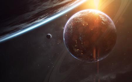 空想科学小説の壁紙。何千もの惑星系は遠く離れた地球から光年します。 写真素材