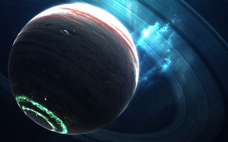 Colossus gas giant with small planets-satellites orbiting it. 版權商用圖片