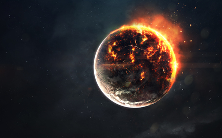 Planet cataclysm. Science fiction space visualisation. Cosmic explosion
