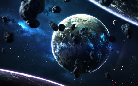 Science fiction wallpaper. Planetary system thousands light years far away from Earth. 写真素材
