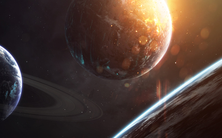 Science fiction wallpaper. Planetary system thousands light years far away from Earth. Stock Photo