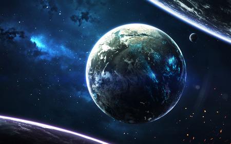 サイエンスフィクションの壁紙。惑星系は地球から何千光年も離れている。