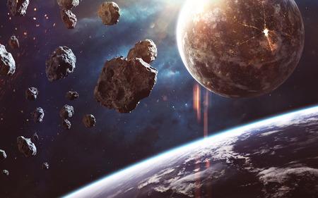 Increíblemente bella y detallada imagen espacial, luz de estrellas y planetas.