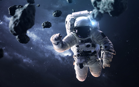 Science fiction space wallpaper with astronaut at the spacewalk. Archivio Fotografico