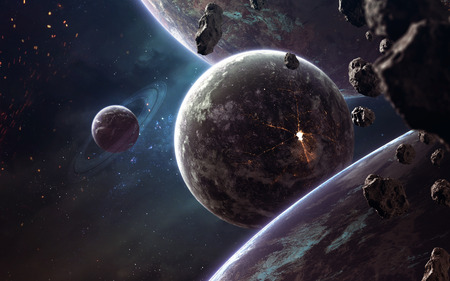 Planets, glowing stars and asteroids. Deep space image, science fiction fantasy in high resolution ideal for wallpaper and print. 写真素材