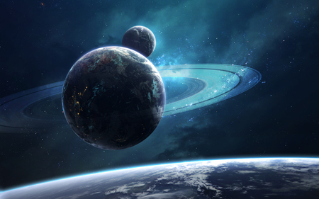 Ringed planet in deep space. Science fiction fantasy in high resolution ideal for wallpaper and print.