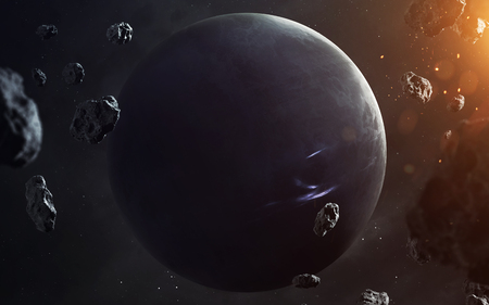 Neptune. Planets of solar system visualisation.