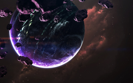 Science fiction wallpaper. Planetary system thousands light years far away from Earth. Reklamní fotografie