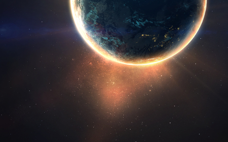 Glowing planet. Deep space image, science fiction fantasy in high resolution ideal for wallpaper and print.