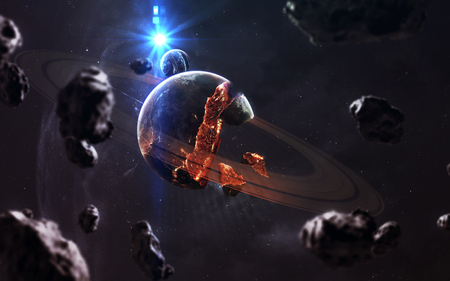 Planet explosion. Apocalypse in space, destroying cosmic object. Stock Photo