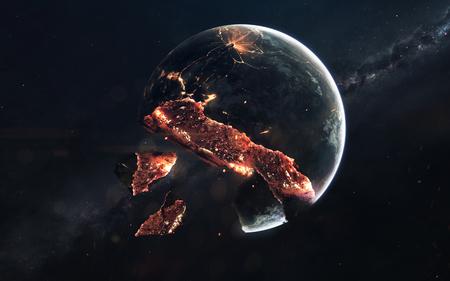 Planet explosion. Apocalypse in space, destroying cosmic object. Reklamní fotografie