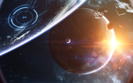 Cosmic landscape, beautiful science fiction wallpaper with endless deep space. Elements of this image furnished by NASA Stock Photo