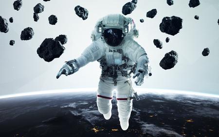 Minimalistic science fiction illustration of astronaut . People in space. Reklamní fotografie