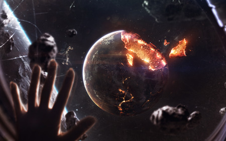 Planet explosion. Apocalypse in space, destroying cosmic object. Elements of this image furnished by NASA Stock Photo
