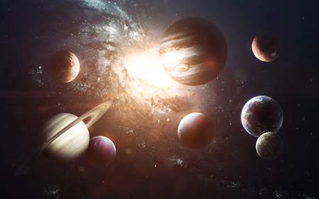 Planets of Solar system, Mars, Earth, Jupiter and others.