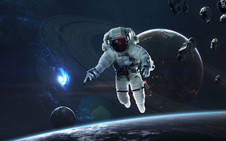 Astronaut in deep space, beauty of endless cosmos. Science fiction wallpaper.
