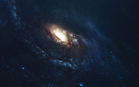 Awesome spiral galaxy. Deep space, beauty of endless cosmos. Science fiction wallpaper.