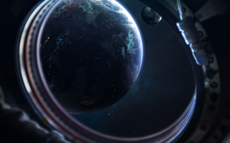 Earth and moon. Science fiction wallpaper.