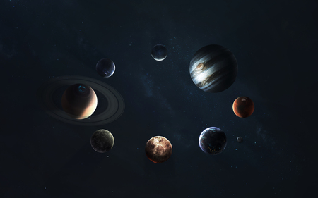 Solar system. Symbol of space exploration. 免版税图像
