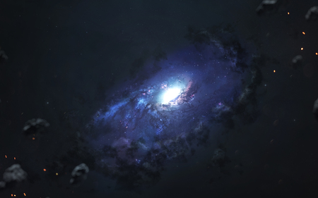 Beautiful spiral galaxy, awesome science fiction wallpaper, cosmic landscape. 写真素材 - 100350554