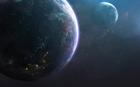 Earth and moon, awesome science fiction wallpaper, cosmic landscape. 写真素材 - 100350403