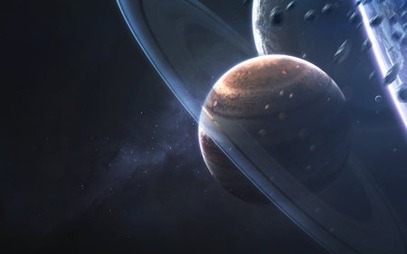 Glowing rings of gas giant, awesome science fiction wallpaper, cosmic landscape. Reklamní fotografie