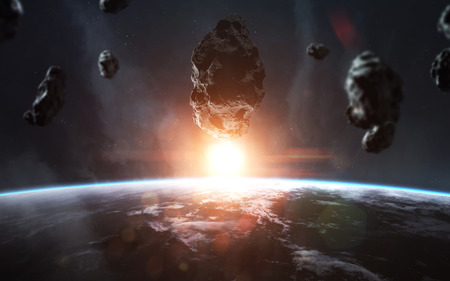 End of Earth. Apocalypse, asteroid explodes the planet. Meteorite shower. 写真素材 - 100350253