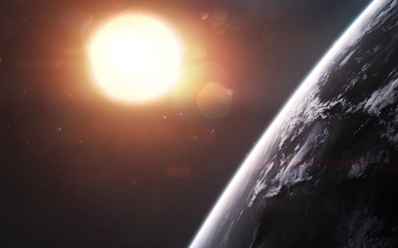 Earth in front of glowing Sun. Space science fiction visualization.