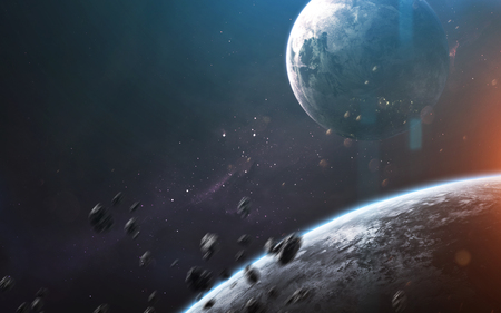 Deep space planets, awesome science fiction wallpaper, cosmic landscape.