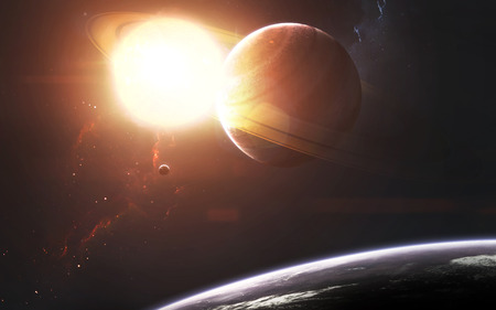 Ringed gas giant in front of glowing Sun. Space science fiction visualization.