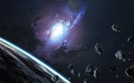 Beautiful spiral galaxy, awesome science fiction wallpaper, cosmic landscape.
