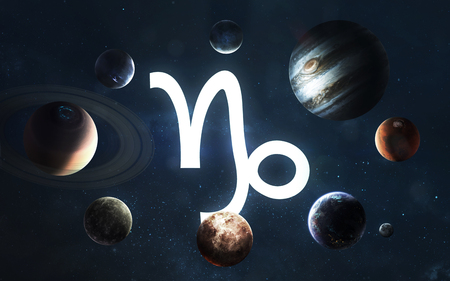 Zodiac sign - Capricorn. Middle of the Solar system.