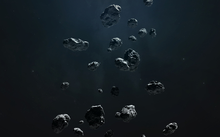 Asteroid belt, awesome science fiction wallpaper, cosmic landscape.