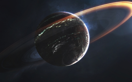 Glowing rings of gas giant, awesome science fiction wallpaper, cosmic landscape. 版權商用圖片